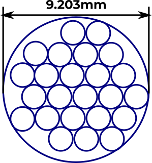 All the circles in a 9.203mm circle with a hexagonal arrangement in the middle and a bunch of leftover space