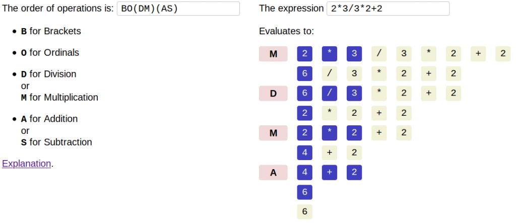 Screenshot of SAMDOB, showing the order of operations BO(DM)(AS) on the expression 2*3/3*2+2, which evaluates to 6