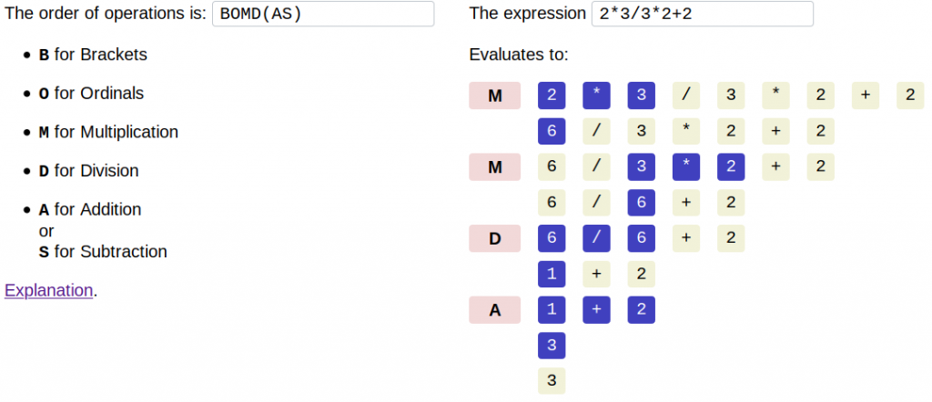 Screenshot showing how with the order of operations BOMD(AS), the expression evaluates to 3