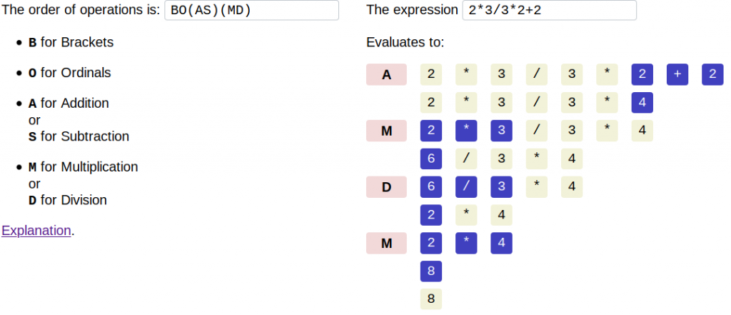 Screenshot showing how with the order of operations BO(AS)(MD), the expression evaluates to 8.
