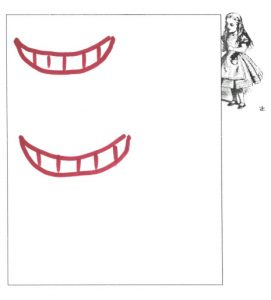 Two red Cheshire Cat grins