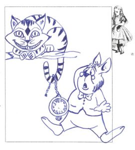 A blue Cheshire cat and blue rabbit with pocket watch