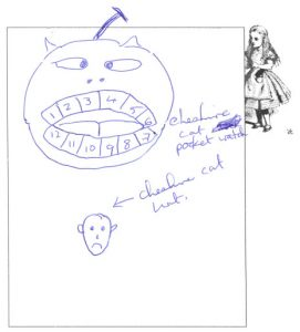 A Cheshire cat with watch teeth and a vanished (Cheshire cat) hat