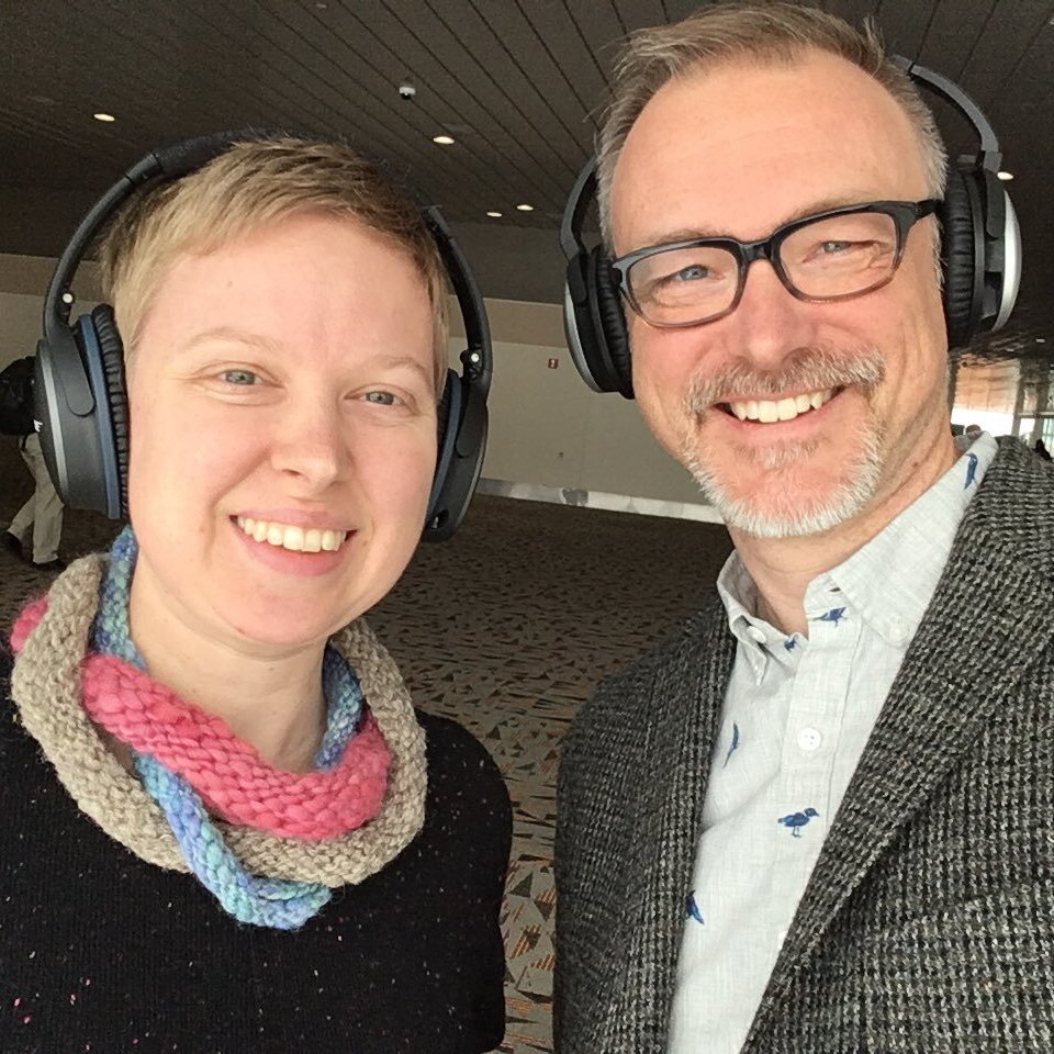 Evelyn Lamb and Kevin Knudson, looking all podcast-hosty