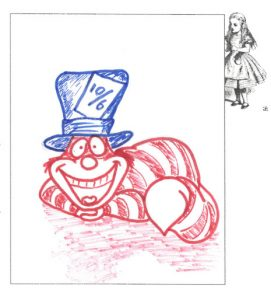 A red Cheshire cat wearing a blue hat