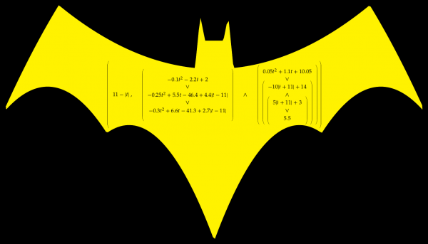 Batman logo with a very complicated formula drawn on it