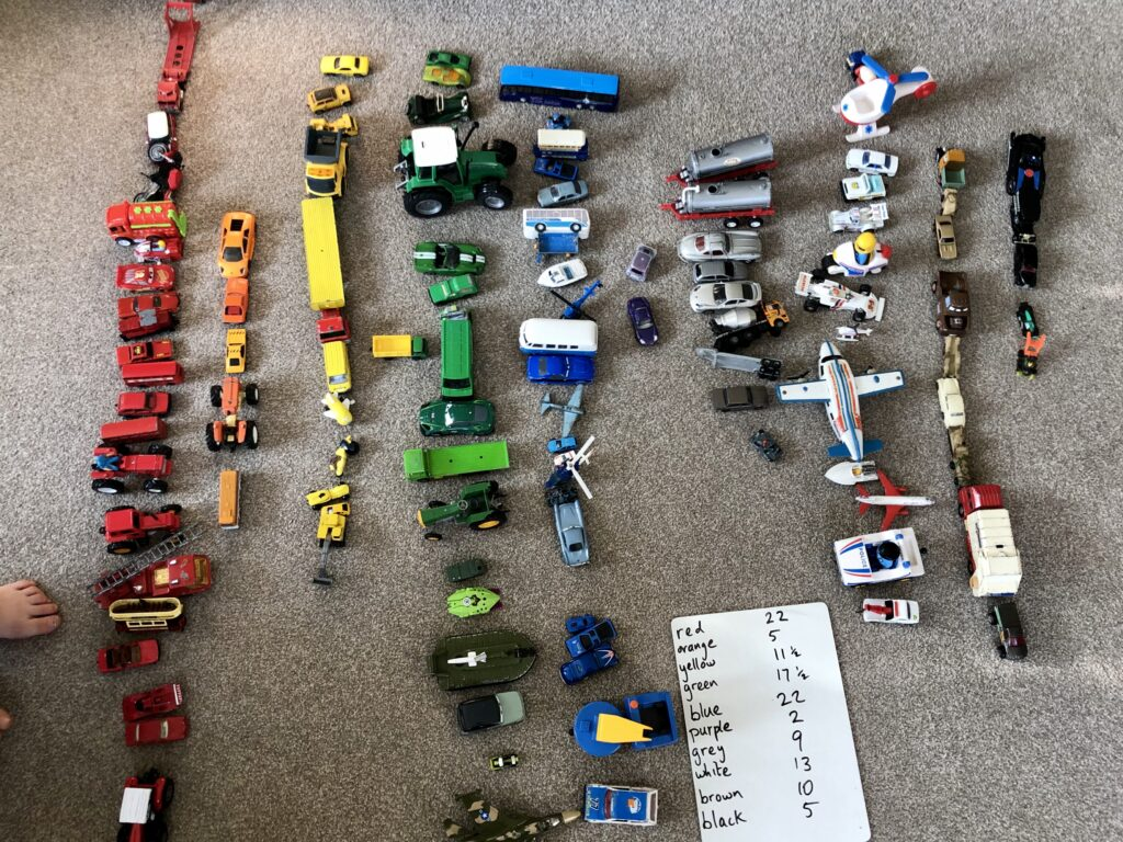 Toy cars arranged by colour.