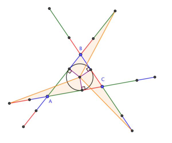 Three congruent right-angled triangles