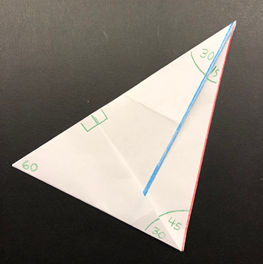 Photo of the folded triangle, and unfolded with all the angles labelled.