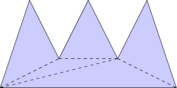 The same polygon broken up into triangles.