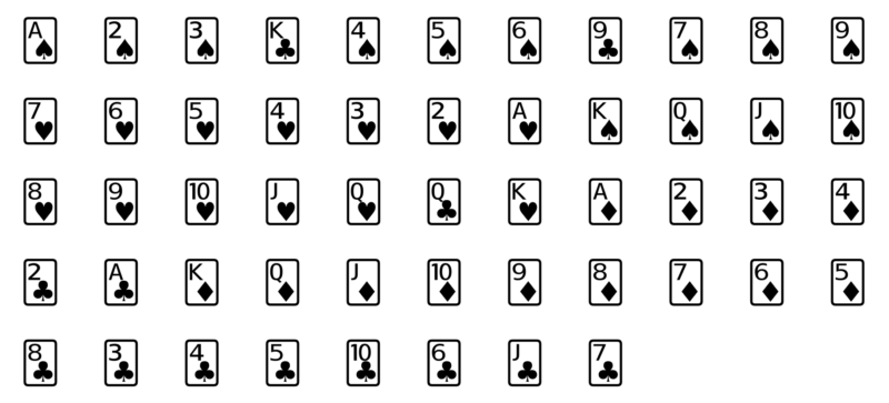 52 playing cards arranged in a grid