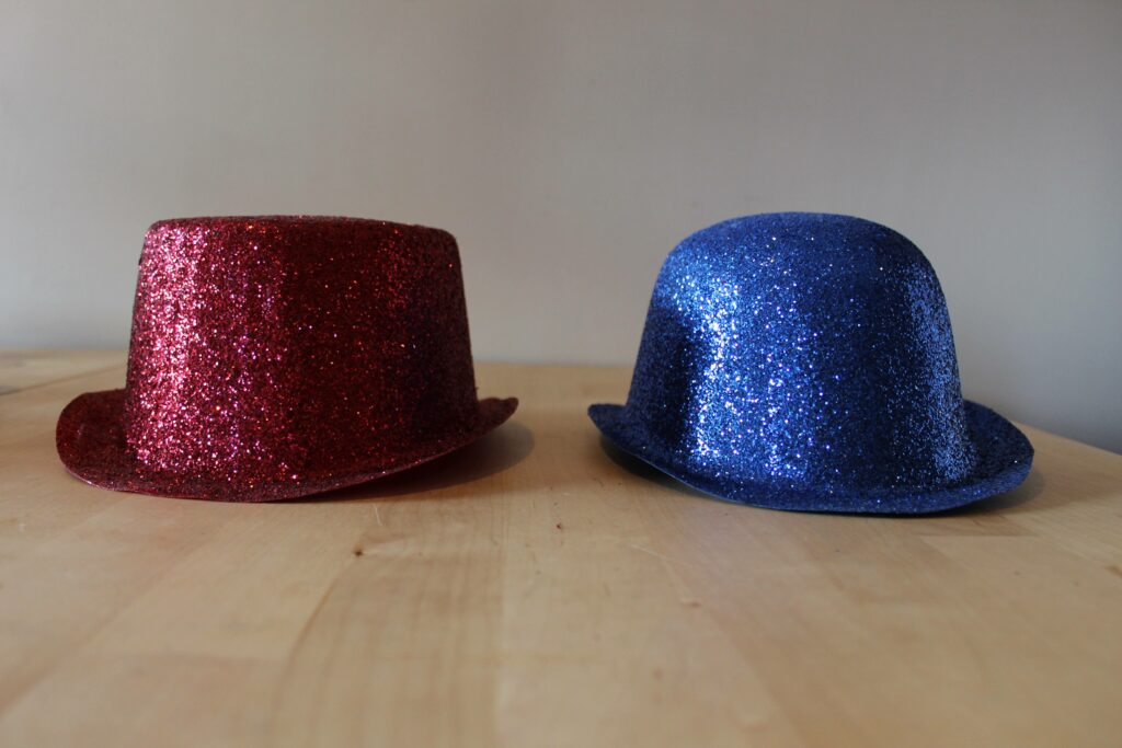 A red hat and a blue hat