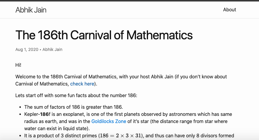 Screenshot of Abhik's Carnival post