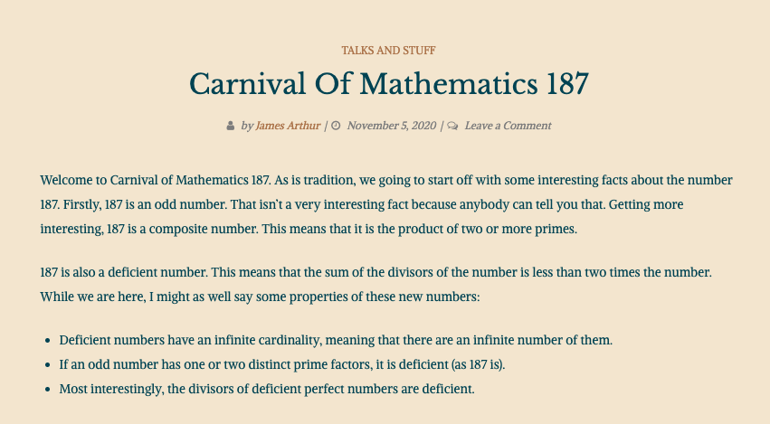 Screenshot of Carnival #187 on James' blog