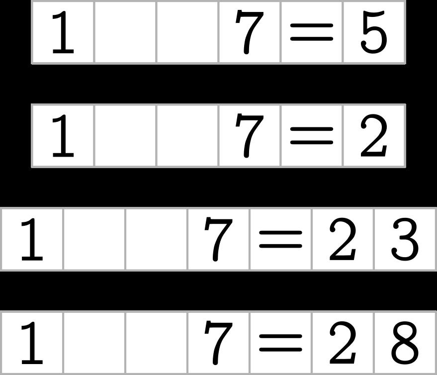 1 ? ? 7 = 5 1 ? ? 7 = 2 1 ? ? 7 = 23 1 ? ? 7 = 28