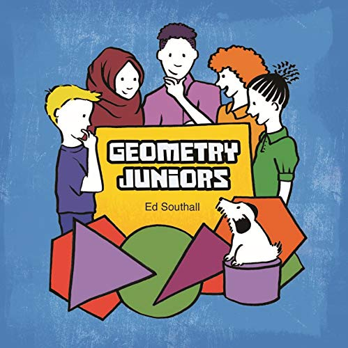 Book cover of Geometry Juniors, showing some people looking at a square pensively and also there's a dog