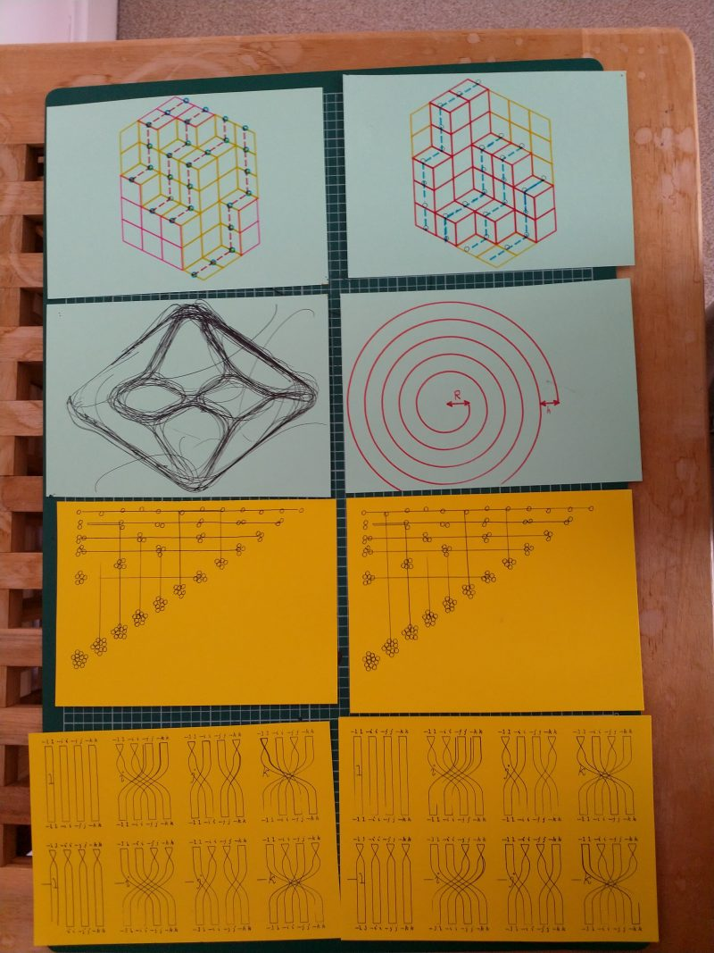 Eight postcards drawn on colourful paper. They each feature a different mathematical diagram.