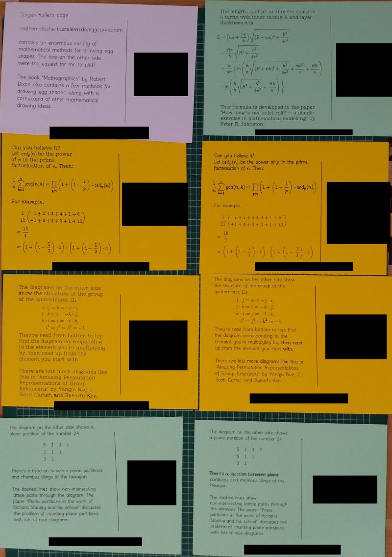 Eight postcards, each with a passage of text including inline and standalone mathematical notation.