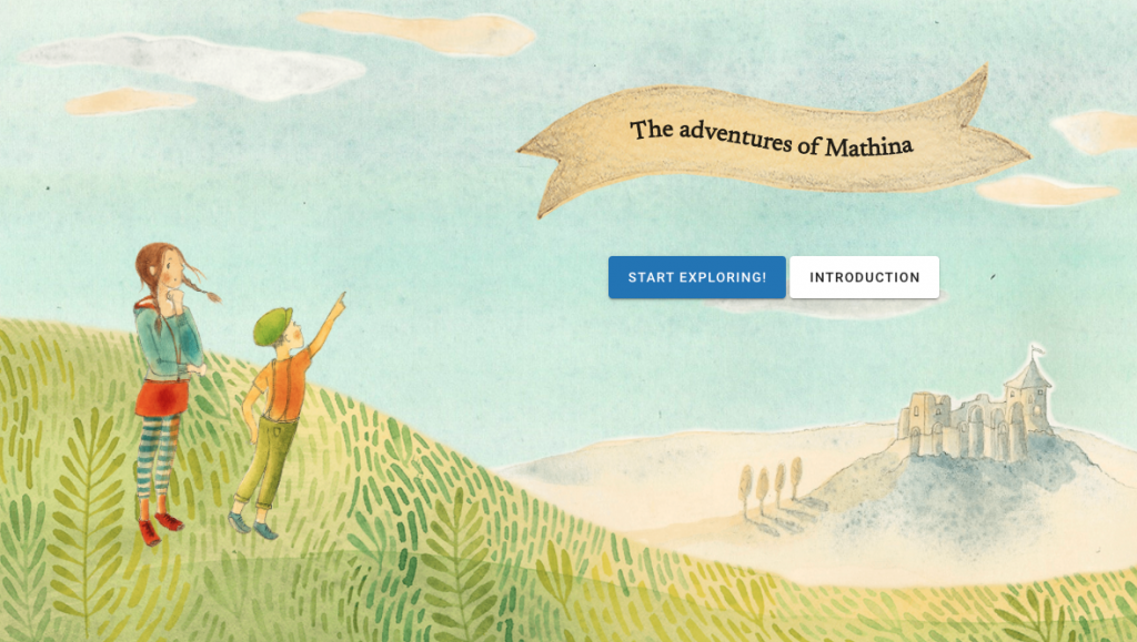 """The adventures of Mathina. An illustration showing two children in a rural landscape, with a castle in the distance. Two buttons, labelled """"Start Exploring!"""" and """"Introduction"""""""