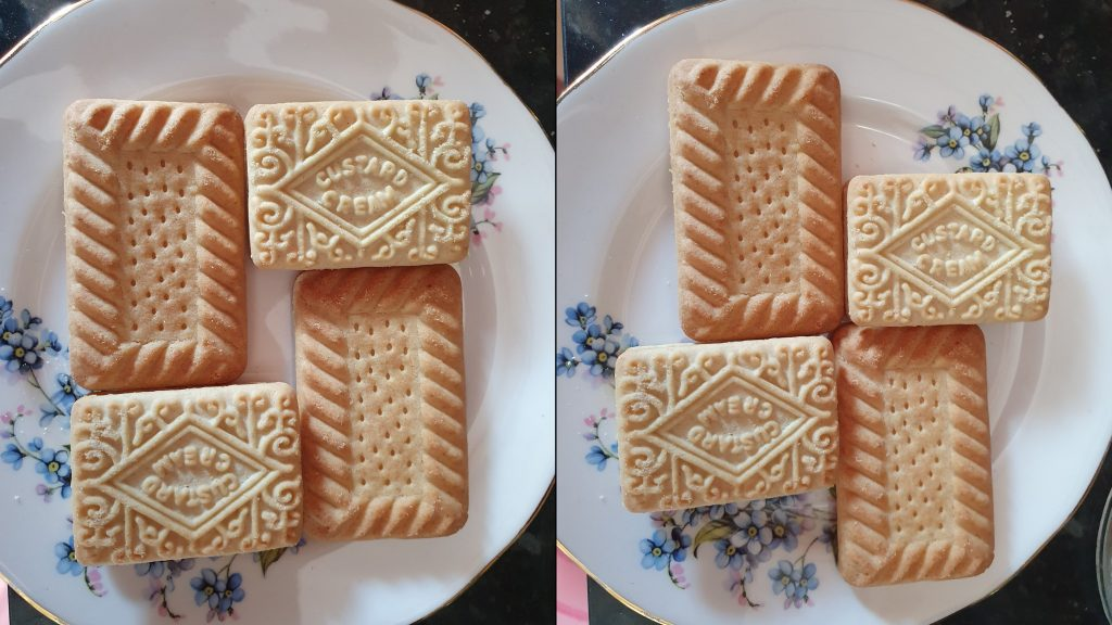 Plate of biscuits described in the episode in two configurations.