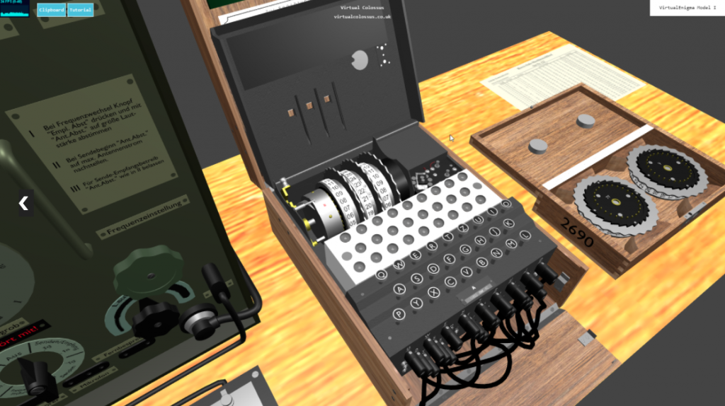 Computer graphic Enigma machine on a table.