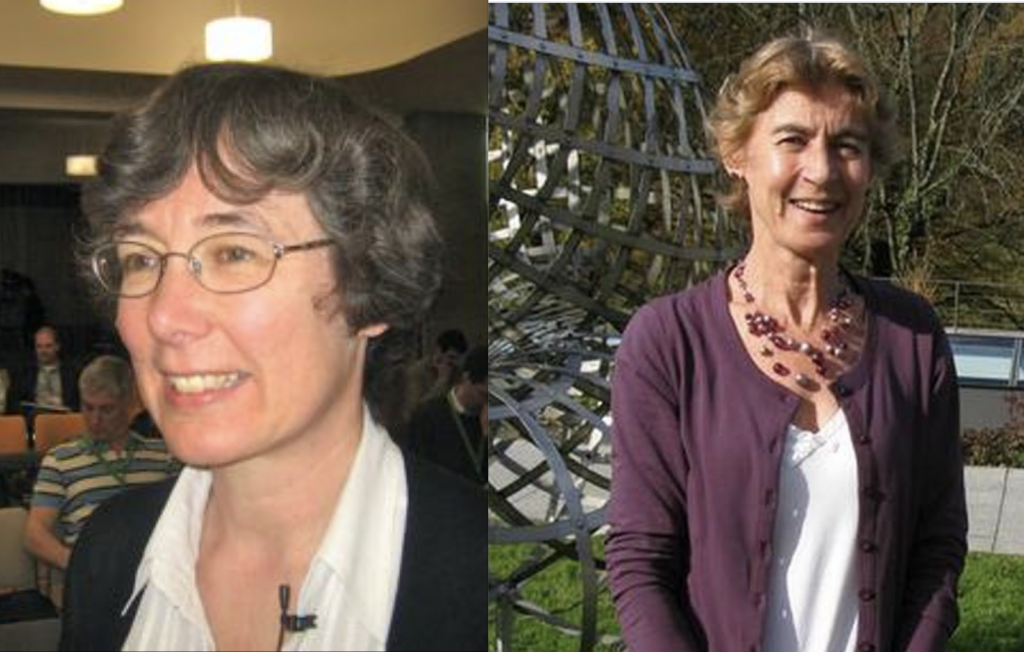 Photo of Prof. Frances Kirwan in a lecture theatre, beside a photo of Prof. June Barrow-Green next to a mathematical sculpture