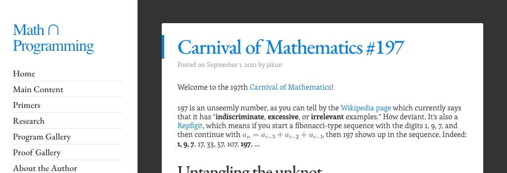 Screenshot of Jeremy's blog showing Carnival of Mathematics 197