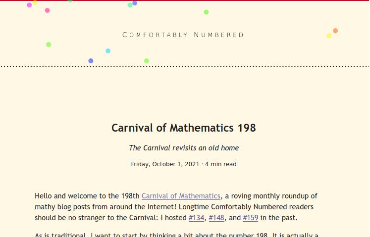 Screenshot of blog showing Carnival of Mathematics 198